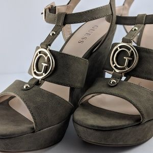 GUESS Olive Green High Heels Platform Wedge Sandal